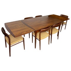 Teak Niels Otto Møller Dining Chairs with Extendable Dining Table, 7 Pieces