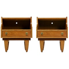 Teak Nightstand End Tables with Brass Hardware by Stanley, Mid-Century Modern
