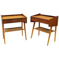 Teak Pair of Midcentury Night or Side Tables, Sweden, 1950s