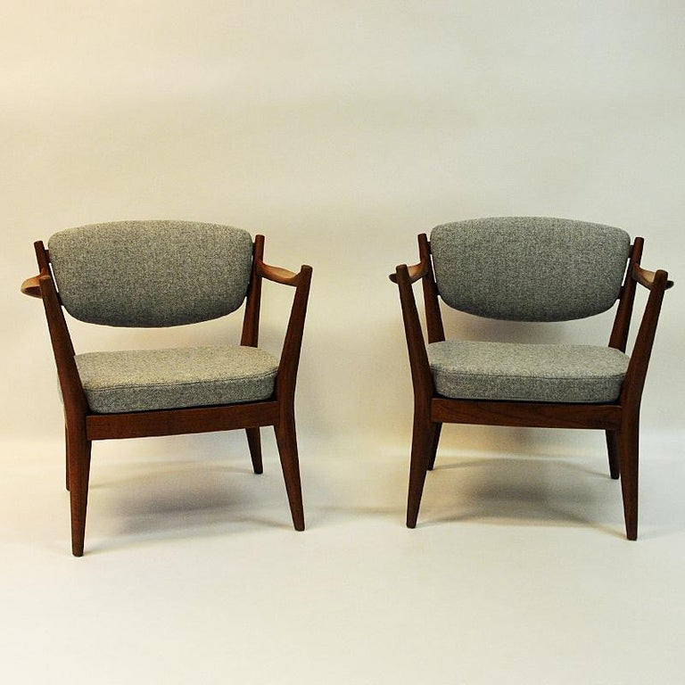 Woven Teak Pair of the Kamin Chair by Kayser & Relling, Norway, 1950s For Sale