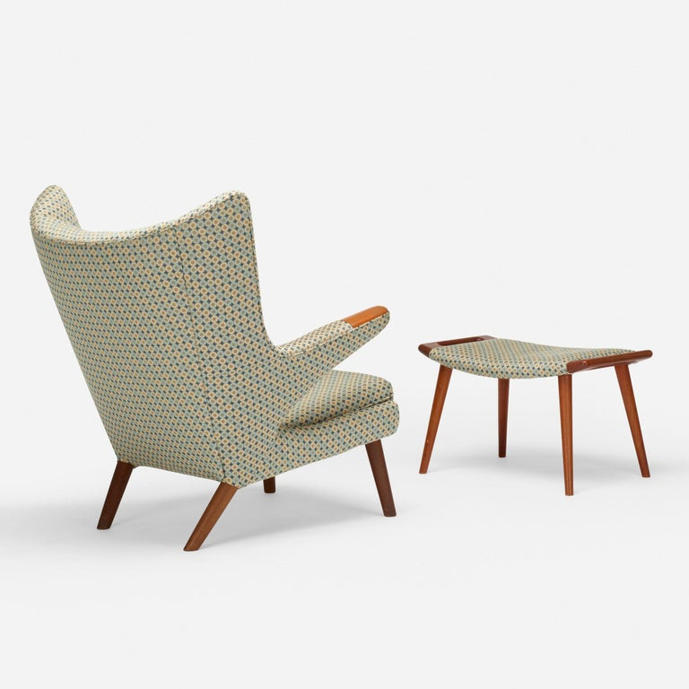 Teak ''Papa Bear'' chair and ottoman by Hans J. Wegner for A.P. Stolen Bearing the tag: