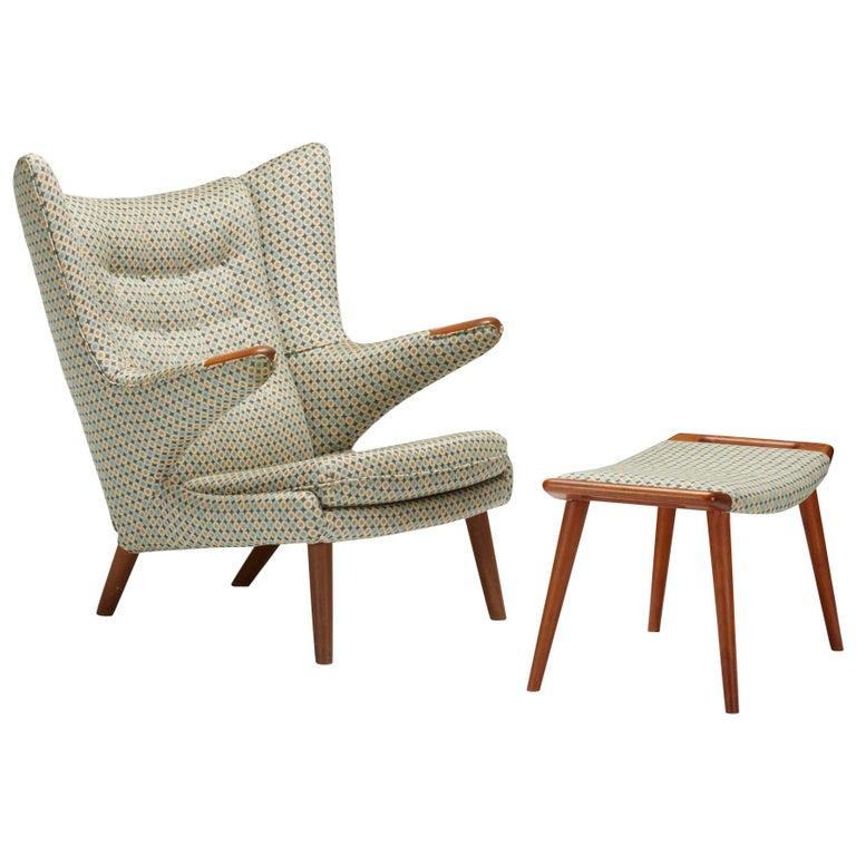 Teak ''Papa Bear'' Chair and Ottoman by Hans J. Wegner for A.P. Stolen For Sale