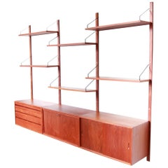 Teak Poul Cadovius Hanging Wall System by Royal System Denmark, 1960s