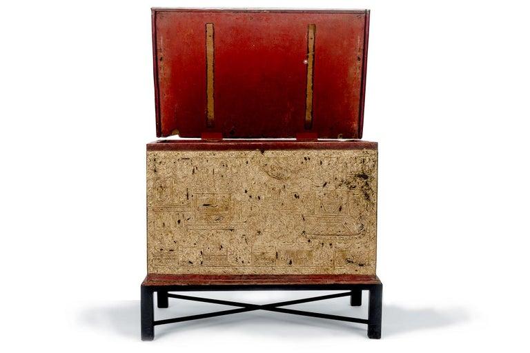 Primitive Teak Red Lacquer and Gold Leaf Manuscript Chest For Sale