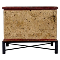 Teak Red Lacquer and Gold Leaf Manuscript Chest