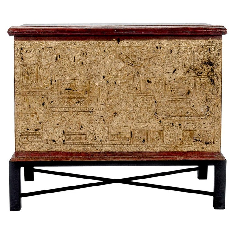 Teak Red Lacquer and Gold Leaf Manuscript Chest For Sale