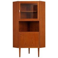 Teak Retro Corner Cabinet Vintage Danish Design, 1960s