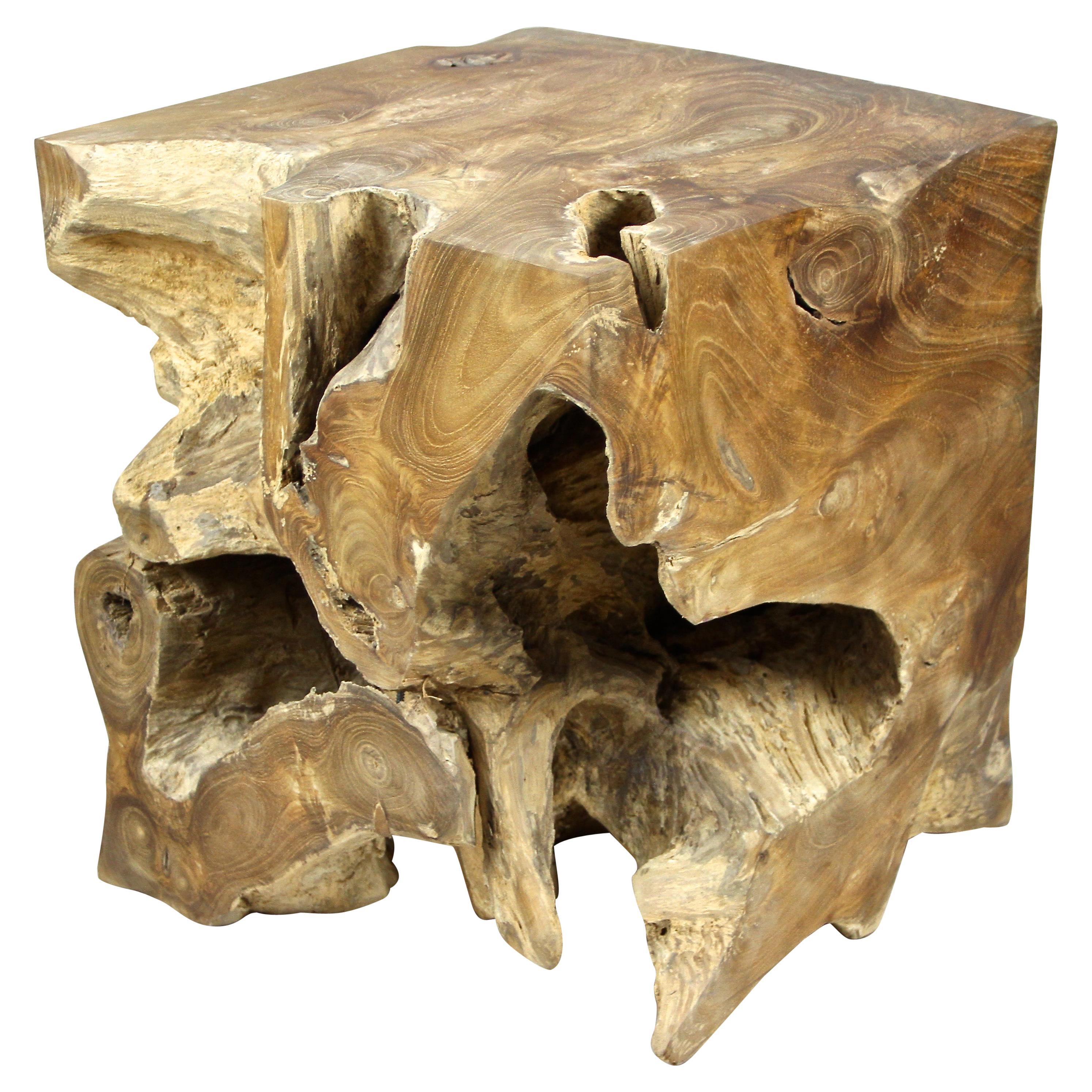 Teak Root Side Table or Stool Oiled, Organic Modern