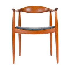 Teak Round Chair with Upholstered Seat by Hans J. Wegner for Johannes Hansen