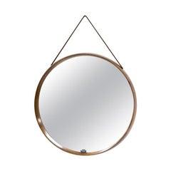 Teak Round Wall Mirror by Uno & Östen Kristiansson for Luxus