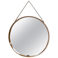 Teak Round Wall Mirror by Uno & Östen Kristiansson for Luxus