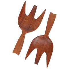 Teak Salad Serving Set, Denmark, 1970s