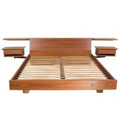 Teak Scandinavian Modern Cal King Storage Platform Bed & Swing-Arm Nightstands