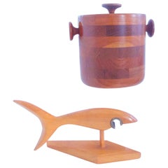 Teak Scandinavian Modernist Barware, Ice Bucket and Bottle Opener, 1960s