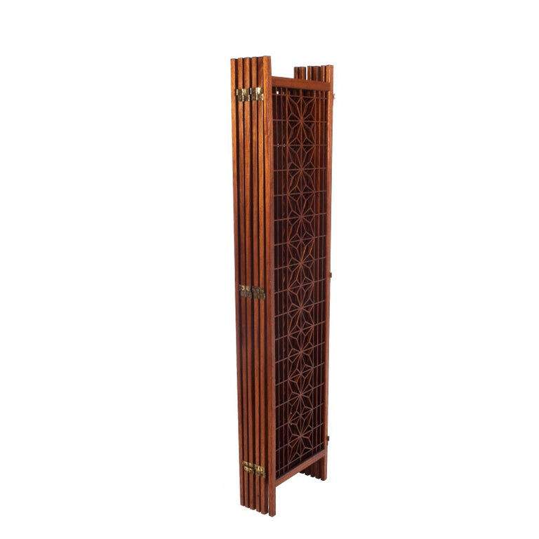 Teak Screen or Room Divider In Good Condition For Sale In Dallas, TX