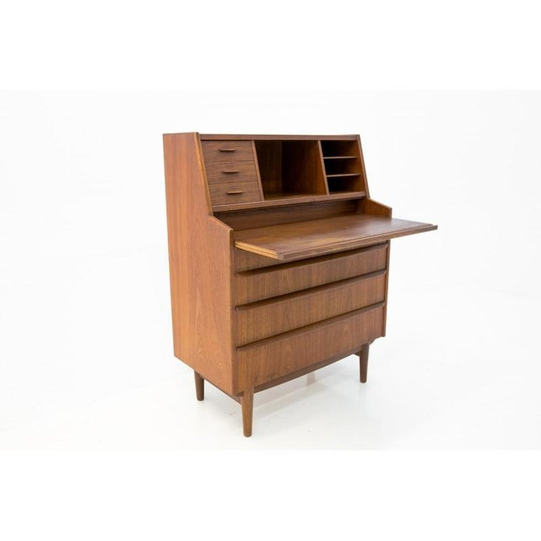 Teak Secretary Desk, Scandinavian Modern, Skrillinge Møbelfabrik, 1960s For Sale 1
