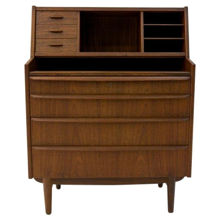 Teak Secretary Desk, Scandinavian Modern, Skrillinge Møbelfabrik, 1960s For Sale