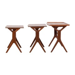 Teak Set of Danish Nesting Tables by Johannes Andersen Silkesborg