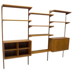 Teak Shelving Unit with a Secretary by Kai Kristiansen for FM Møbler, 1960s