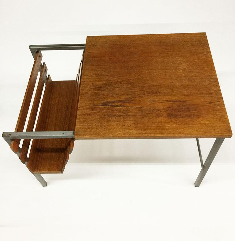 ae374a93a7 Teak side table with magazine rack Metal base with teak finish The  measurements are 60 cm