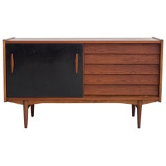 Teak Sideboard with Black Lacquered Door by Hugo Troeds