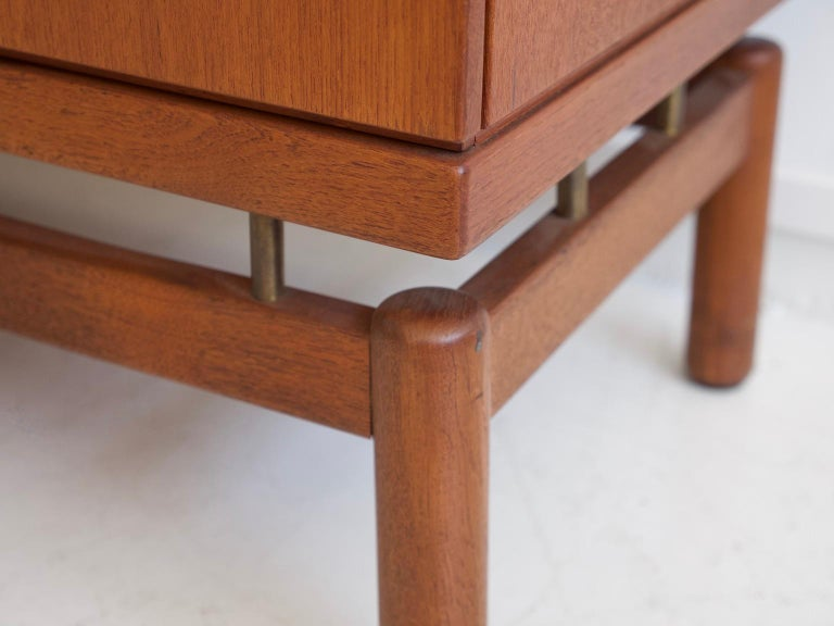 Teak Sideboard with Fabric and Brass Details by Ilmari Tapiovaara For Sale 4