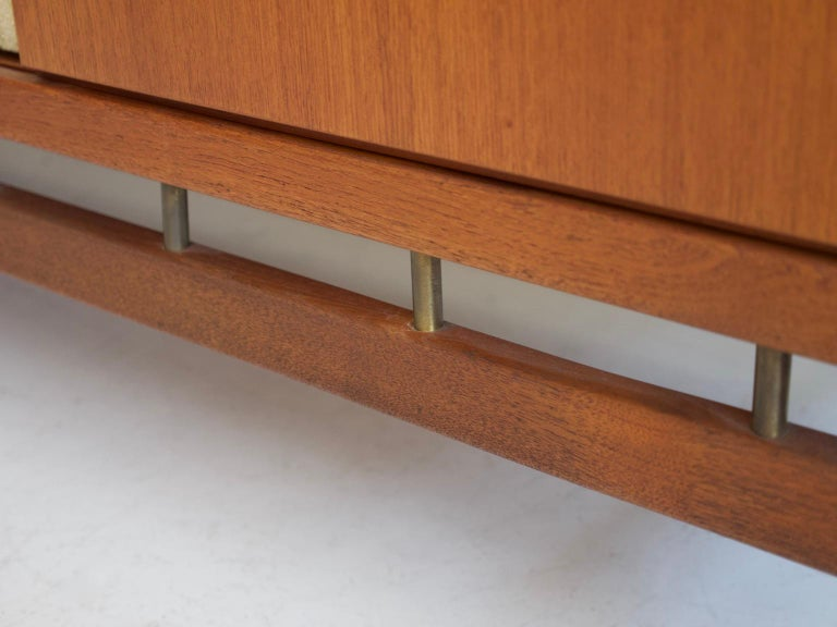 Teak Sideboard with Fabric and Brass Details by Ilmari Tapiovaara For Sale 5