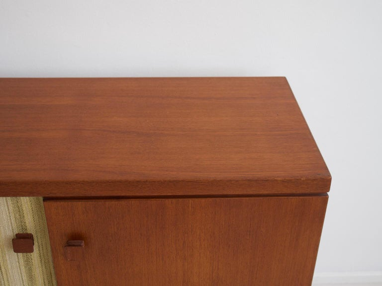 Teak Sideboard with Fabric and Brass Details by Ilmari Tapiovaara For Sale 6