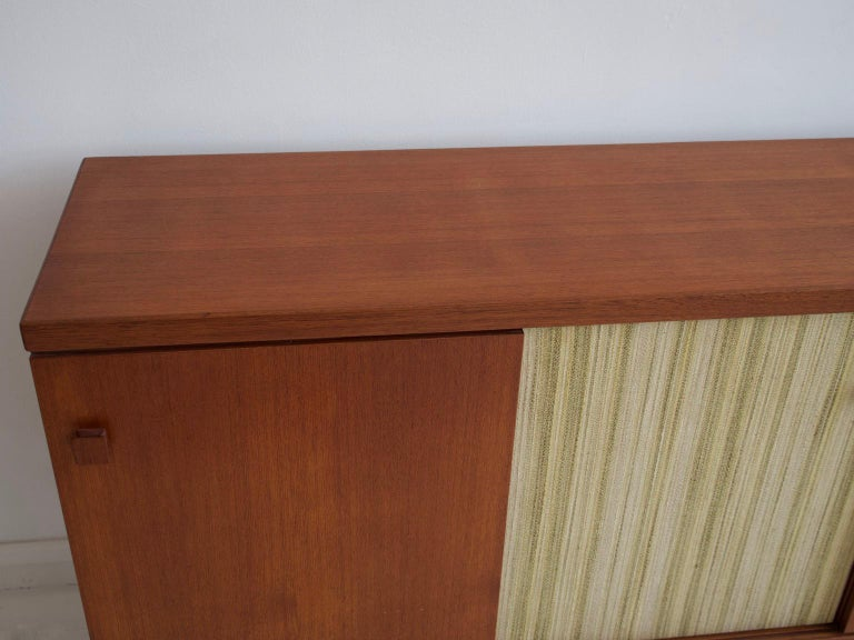 Teak Sideboard with Fabric and Brass Details by Ilmari Tapiovaara For Sale 7