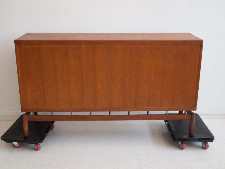 Teak Sideboard with Fabric and Brass Details by Ilmari Tapiovaara For Sale 8