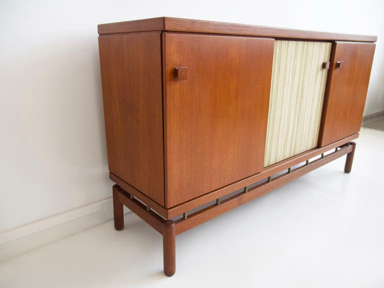 Mid-Century Modern Teak Sideboard with Fabric and Brass Details by Ilmari Tapiovaara For Sale