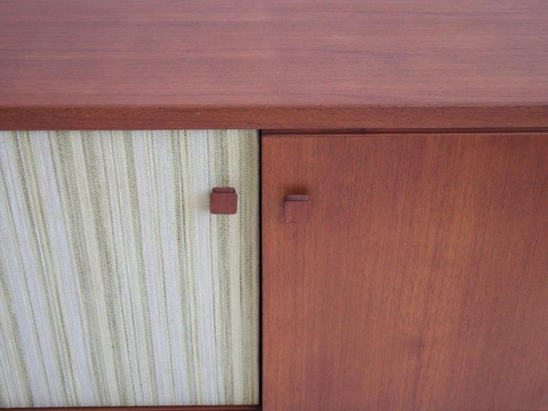 Teak Sideboard with Fabric and Brass Details by Ilmari Tapiovaara In Good Condition For Sale In Madrid, ES