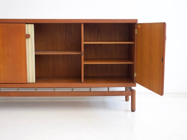 Teak Sideboard with Fabric and Brass Details by Ilmari Tapiovaara For Sale 1