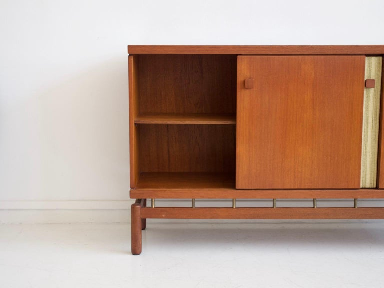 Teak Sideboard with Fabric and Brass Details by Ilmari Tapiovaara For Sale 3