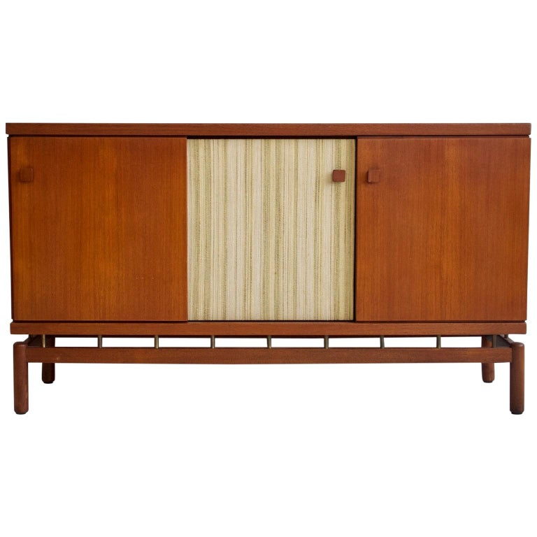 Teak Sideboard with Fabric and Brass Details by Ilmari Tapiovaara For Sale