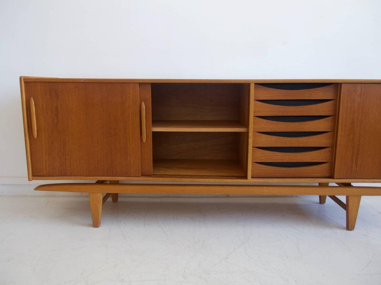 Teak Sideboard with Sliding Doors and Drawers For Sale 4