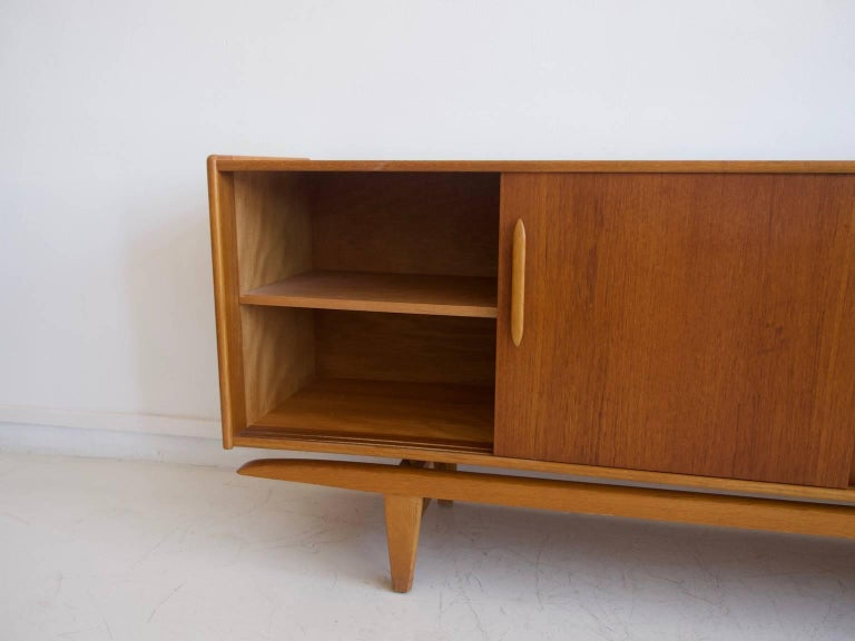 Teak Sideboard with Sliding Doors and Drawers For Sale 5