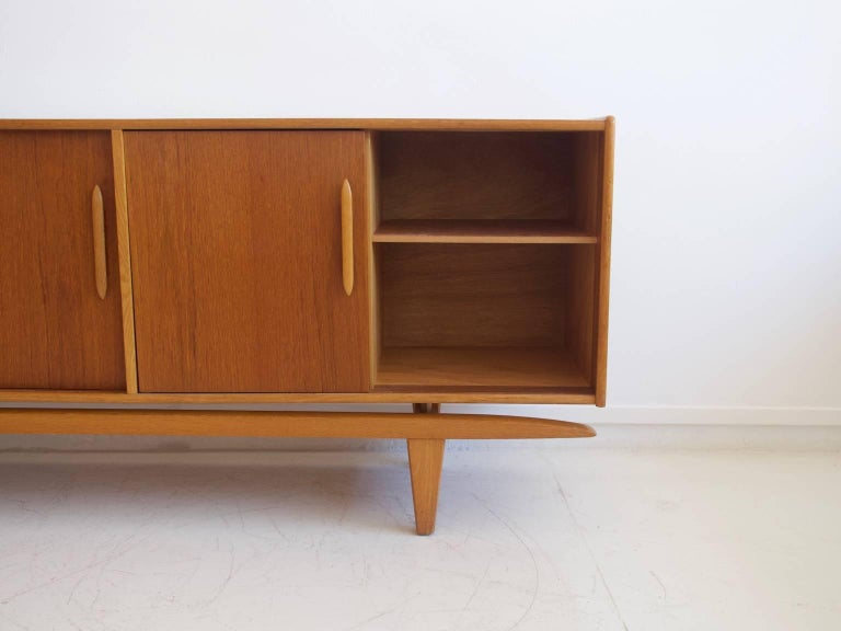 Oak Teak Sideboard with Sliding Doors and Drawers For Sale