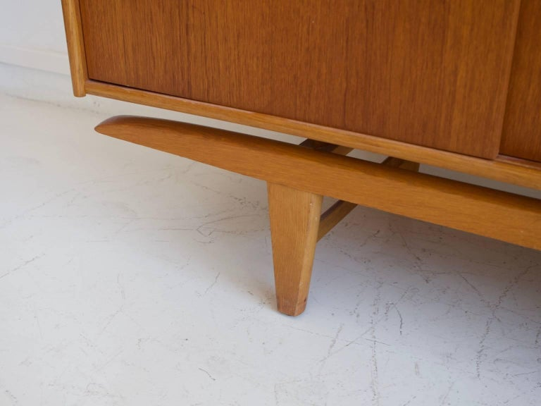 Teak Sideboard with Sliding Doors and Drawers For Sale 2