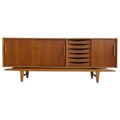 Teak Sideboard with Sliding Doors and Drawers
