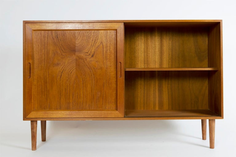 Danish Teak Slide Door Cabinet, Made in Denmark, 1960s For Sale