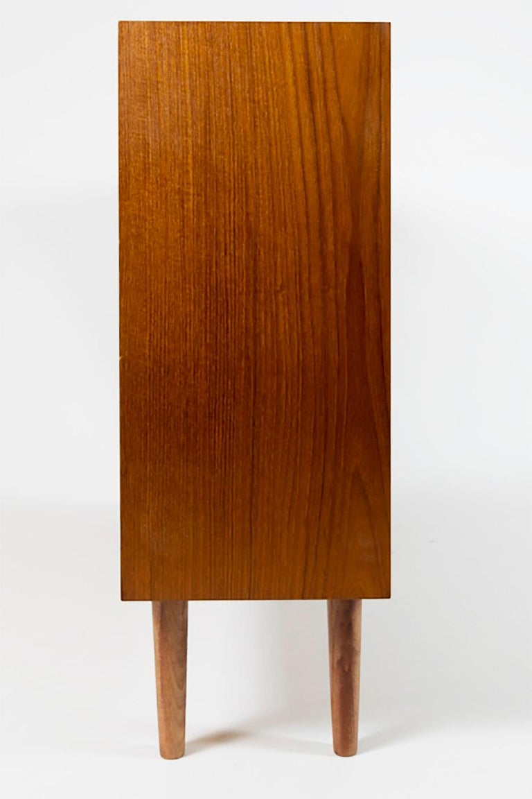 Teak Slide Door Cabinet, Made in Denmark, 1960s For Sale 1