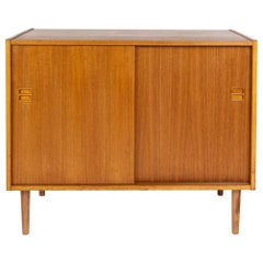 Teak Slide Door Cabinet, Made in Sweden, Marked Swan, 1960s