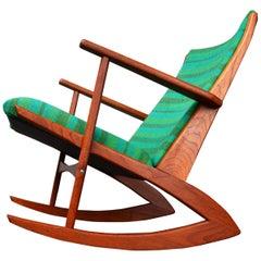 Teak Soren Georg Jensen Wishbone Rocking Chair Green Striped Wool, Denmark