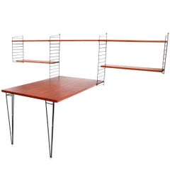 Teak String Ab 'Ladder Shelf' Shelving Wall Unit with Table by Nisse Strinning