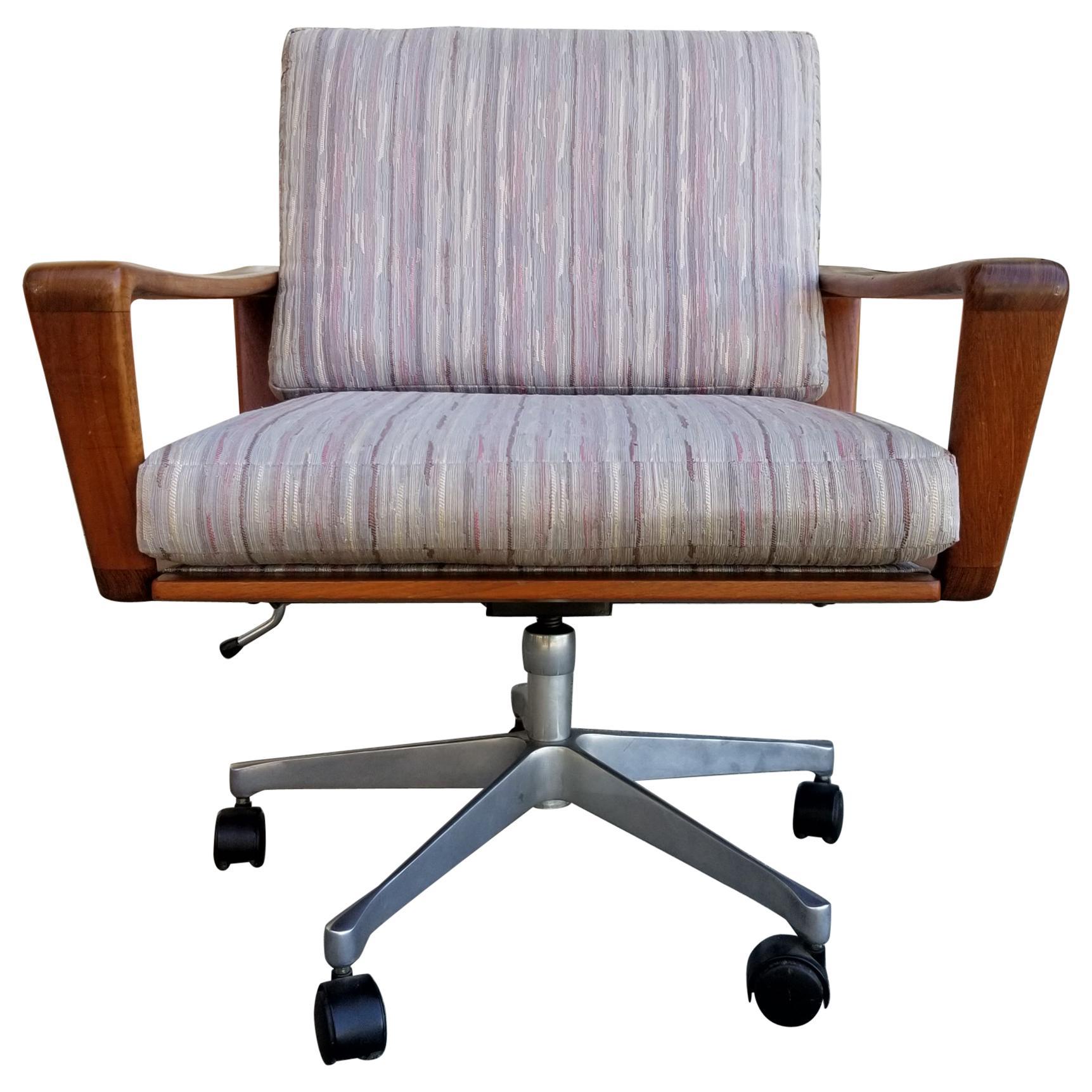 Teak Swivel Desk or Office Chair by Komfort