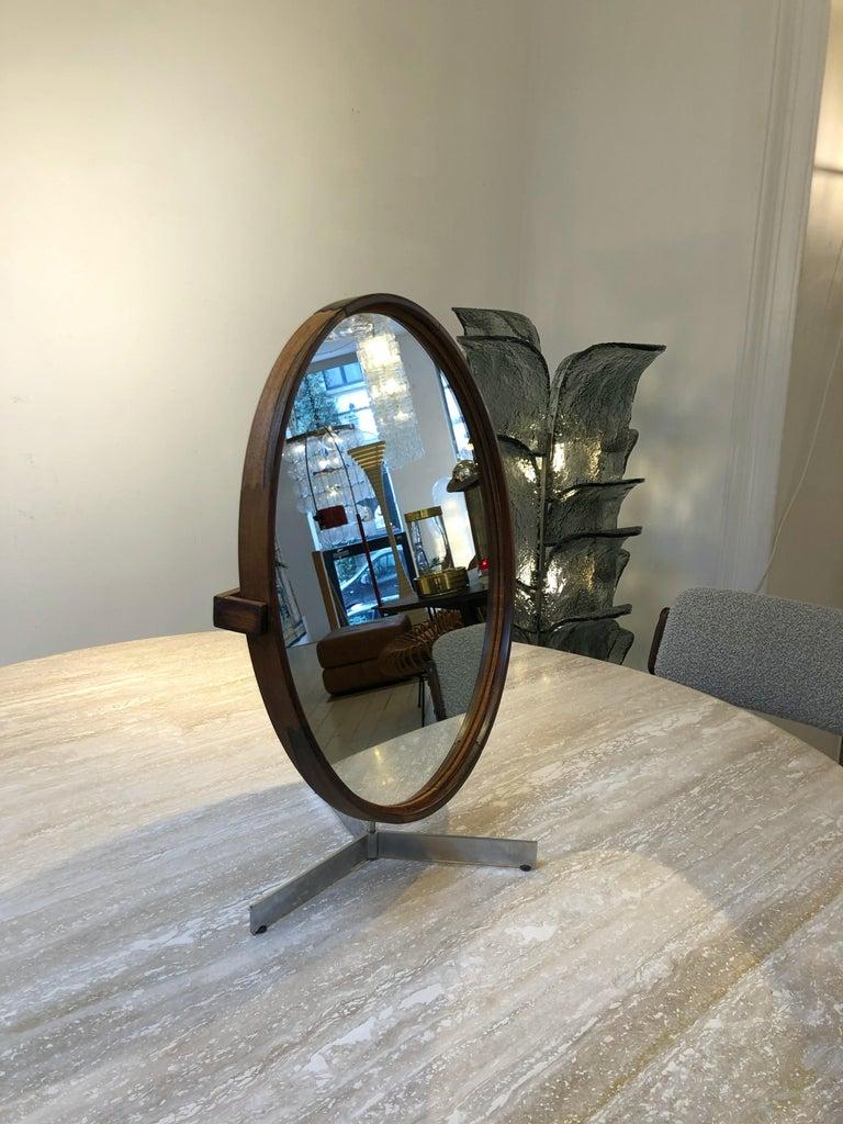 Teak table mirror by Uno & Östen Kristiansson for Luxus, 1960s.