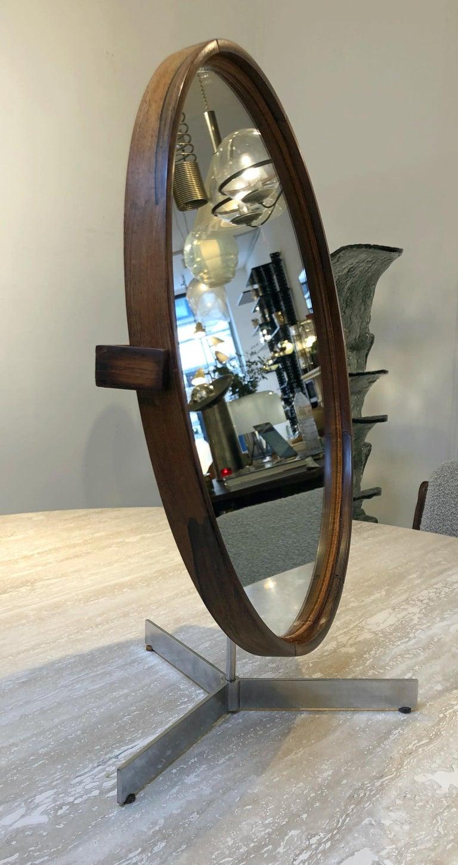 Mid-Century Modern Teak Table Mirror by Uno & Östen Kristiansson for Luxus, 1960s For Sale