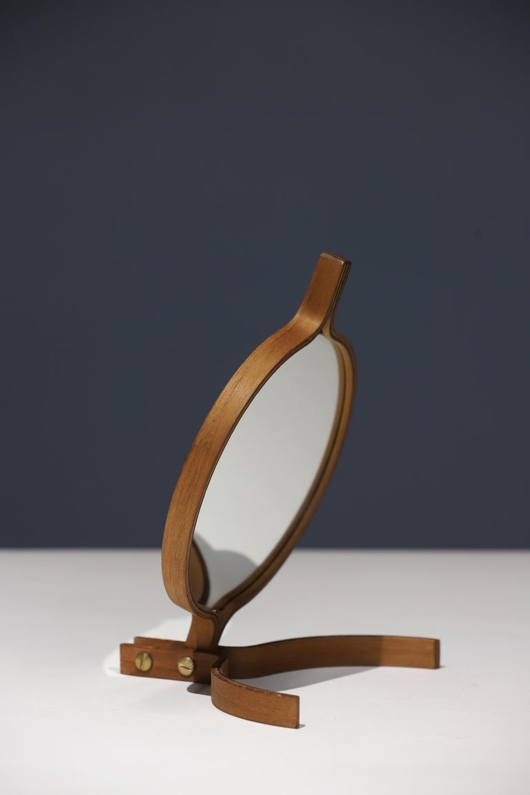 Teak Table Top and Hand Mirror by Jorgen Gammelgaard For Sale 3