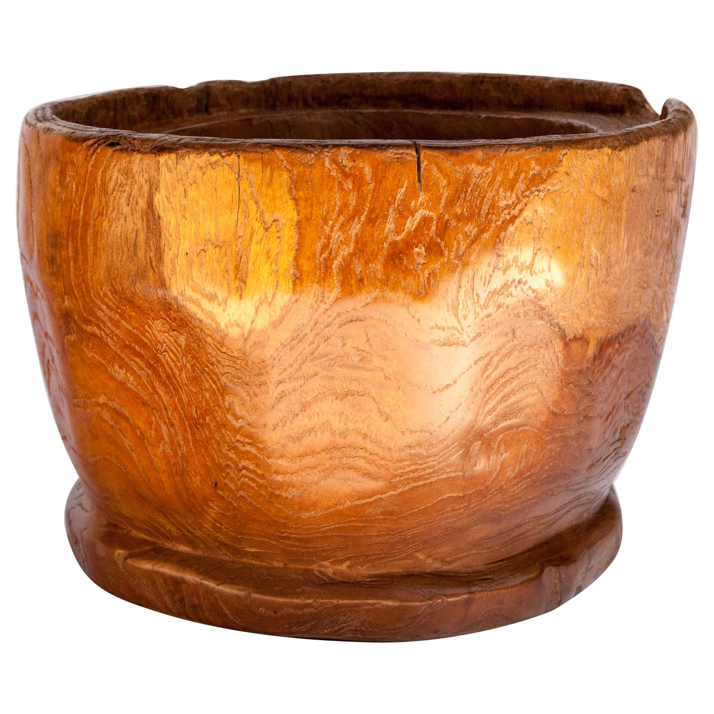 Teak Tabletop Planter or Bowl from an Old Mortar, Indonesia, Late 20th Century